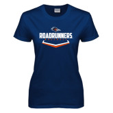 Ladies Navy T Shirt-Roadrunners Baseball Plate