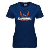 Ladies Navy T Shirt-Roadrunners Track & Field Wings