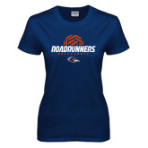 Ladies Navy T Shirt-Roadrunners Volleyball Geometric Ball