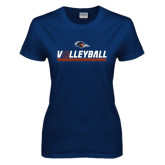 Ladies Navy T Shirt-Volleyball Bar