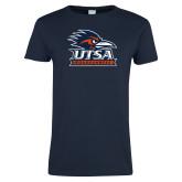 Ladies Navy T Shirt-Primary Logo Distressed