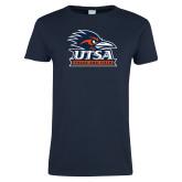 Ladies Navy T Shirt-Track & Field