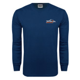 Navy Long Sleeve T Shirt-UTSA Roadrunners w/ Head Flat