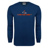 Navy Long Sleeve T Shirt-Come and Take It Flat
