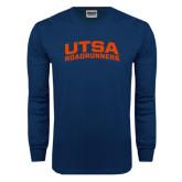 Navy Long Sleeve T Shirt-Arched UTSA Roadrunners