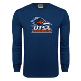 Navy Long Sleeve T Shirt-Primary Logo Distressed