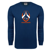 Navy Long Sleeve T Shirt-Roadrunners Football Vertical