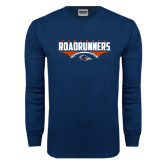 Navy Long Sleeve T Shirt-Roadrunners Football Horizontal
