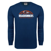 Navy Long Sleeve T Shirt-Roadrunners Basketball Half Ball