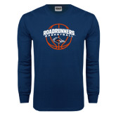 Navy Long Sleeve T Shirt-Roadrunners Basketball Arched