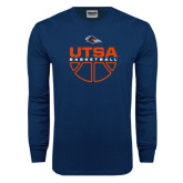 Navy Long Sleeve T Shirt-UTSA Basketball Half Ball
