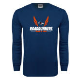 Navy Long Sleeve T Shirt-Roadrunners Track & Field Wings