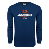Navy Long Sleeve T Shirt-Roadrunners Volleyball Geometric Ball