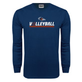 Navy Long Sleeve T Shirt-Volleyball Bar