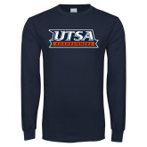Navy Long Sleeve T Shirt-UTSA Roadrunners Stacked