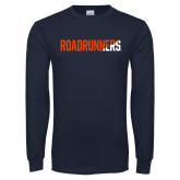 Navy Long Sleeve T Shirt-Roadrunners Two Tone Diagonal