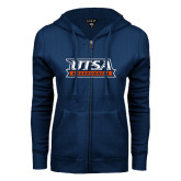 ENZA Ladies Navy Fleece Full Zip Hoodie-UTSA Roadrunners Stacked