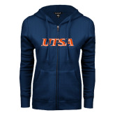 ENZA Ladies Navy Fleece Full Zip Hoodie-UTSA