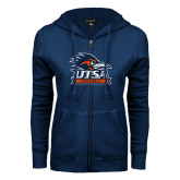 ENZA Ladies Navy Fleece Full Zip Hoodie-Football