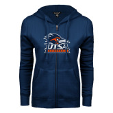 ENZA Ladies Navy Fleece Full Zip Hoodie-Basketball