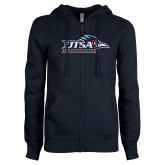 ENZA Ladies Navy Fleece Full Zip Hoodie-UTSA Roadrunners w/ Head Flat