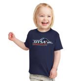 Toddler Navy T Shirt-UTSA Roadrunners w/ Head Flat