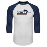 White/Navy Raglan Baseball T-Shirt-UTSA Roadrunners w/ Head Flat
