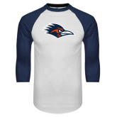 White/Navy Raglan Baseball T-Shirt-Roadrunner Head