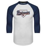 White/Navy Raglan Baseball T-Shirt-Roadrunners Baseball Script w/ Plate