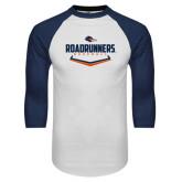 White/Navy Raglan Baseball T-Shirt-Roadrunners Baseball Plate