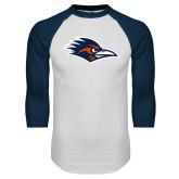 White/Navy Raglan Baseball T Shirt-Roadrunner Head