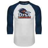 White/Navy Raglan Baseball T Shirt-Primary Logo Distressed