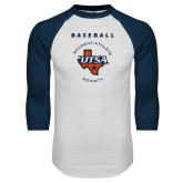 White/Navy Raglan Baseball T Shirt-Baseball SAS