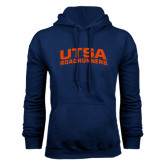 Navy Fleece Hood-Arched UTSA Roadrunners