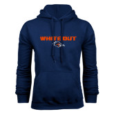 Navy Fleece Hood-White Out