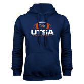 Navy Fleece Hood-UTSA Football Stacked w/ Ball