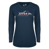 Ladies Syntrel Performance Navy Longsleeve Shirt-UTSA Roadrunners w/ Head Flat