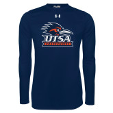 Under Armour Navy Long Sleeve Tech Tee-Primary Logo