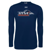 Under Armour Navy Long Sleeve Tech Tee-UTSA Roadrunners w/ Head Flat