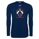 Under Armour Navy Long Sleeve Tech Tee-Roadrunners Football Vertical