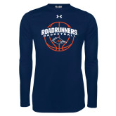 Under Armour Navy Long Sleeve Tech Tee-Roadrunners Basketball Arched