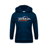Youth Navy Fleece Hoodie-UTSA Roadrunners w/ Head Flat