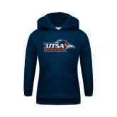 Youth Navy Fleece Hoodie-UTSA Roadrunners w/ Head Flat