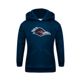 Youth Navy Fleece Hoodie-Roadrunner Head