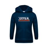 Youth Navy Fleece Hoodie-UTSA Roadrunners Stacked