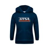 Youth Navy Fleece Hoodie-UTSA Roadrunners Stacked