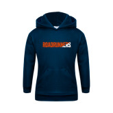Youth Navy Fleece Hoodie-Roadrunners Two Tone Diagonal