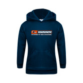 Youth Navy Fleece Hoodie-Roadrunners Bar w/ Head