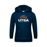 Youth Navy Fleece Hoodie-UTSA Football Stacked w/ Ball