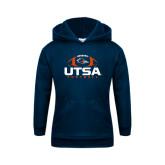 Youth Navy Fleece Hoodie-UTSA Football Stacked w/ Ball